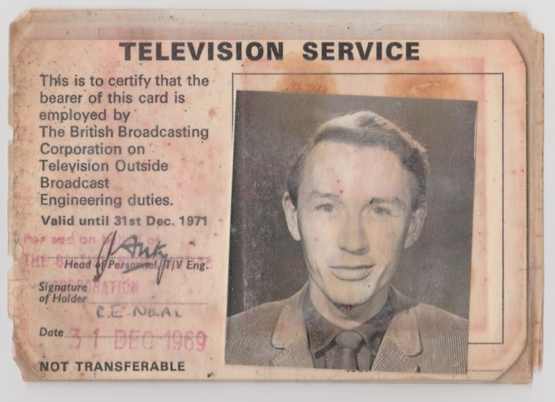 Former BBC television outside broadcast vision supervisor Roger Neal's 1969 photo identification pass