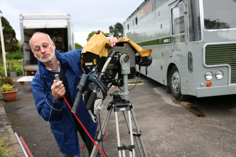 Outside broadcast camera operator Robin Sutherland rigging an Ikegami electronic television camera during an ADAPT simulation in May 2016. Credit: Nick Gilbey.