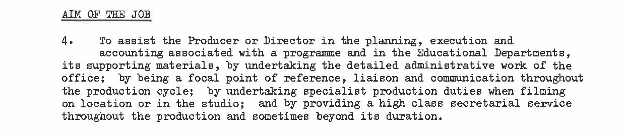 Excerpt from television producers assistants job description.